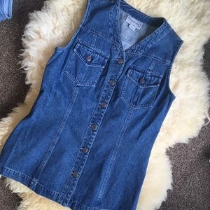 Vintage Long Line Denim Vest
